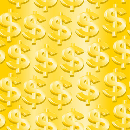 us paper currency: Gold dollar symbol in a seamless pattern . Illustration