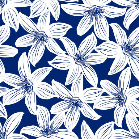Navy and white tropical hibiscus floral seamless pattern.