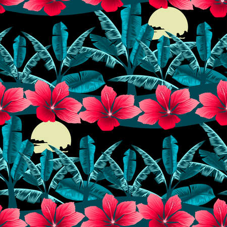 tropical tree: Tropical hibiscus and palm tree at night seamless pattern.