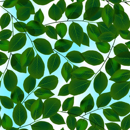 branch to grow up: Green leaves canopy and sky in a seamless pattern. Illustration