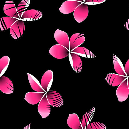 Tropical palm leaves over pink frangipani seamless pattern.