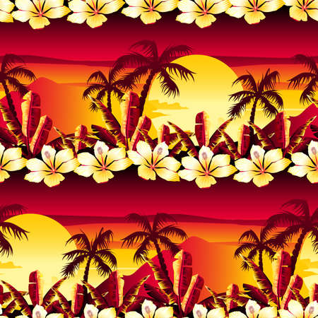 Tropical golden sunset with hibiscus flowers seamless pattern.