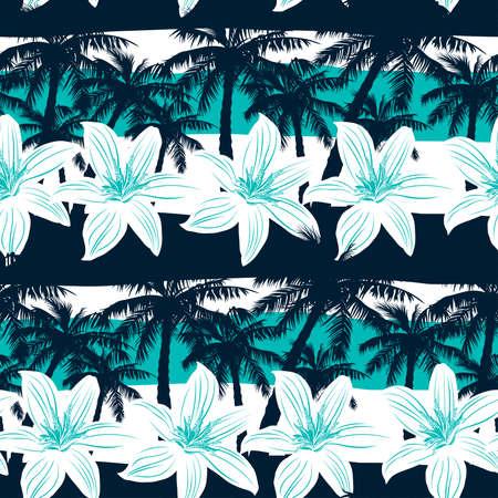 spiaggia: Frangipani tropicale con palme e strisce seamless.