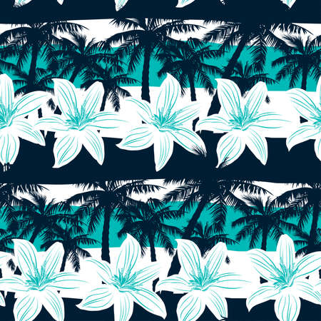 beach: Tropical frangipani with palms and stripes seamless pattern.