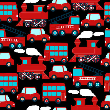 colourfull: Cute red transport children in a seamless pattern. .