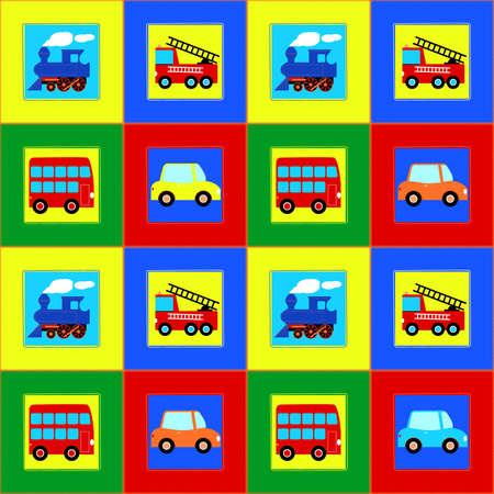 colourfull: Train, Bus, Car and Fire truck children seamless pattern .