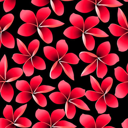 pink plumeria: Red tropical frangipani with black background seamless pattern. Illustration