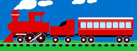 Cute simple red steam train on rail tracks .
