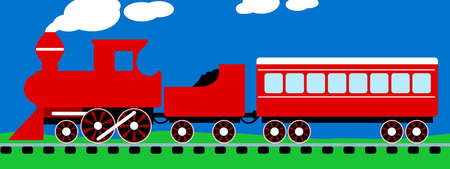 Cute simple red steam train on rail tracks .