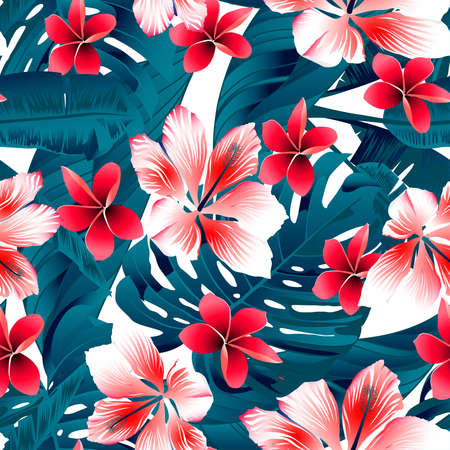 tropic: Red and white tropical hibiscus flowers seamless pattern.