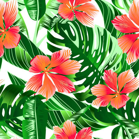 tropical sunset: Tropical orange and pink hibiscus flowers seamless pattern.