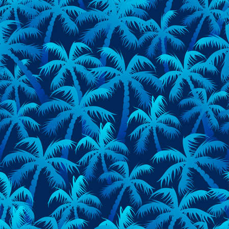 Tropical blue palm forest in a seamless pattern.