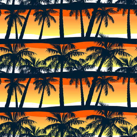 Tropical palms trees at sunset in a seamless pattern . 矢量图像
