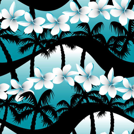 surfing: Blue tropical frangipani flowers with palm tree seamless pattern . Illustration