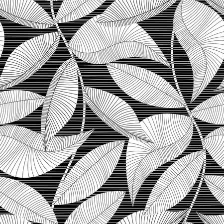 Black and white striped texture tropical seamless pattern. Ilustração