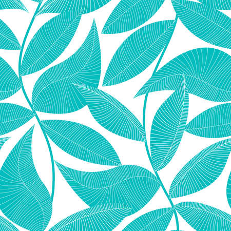 Turquoise and white tropical leaf seamless pattern .