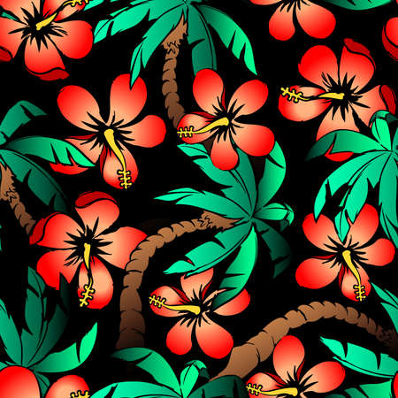 cartoon flower: Hand drawn tropical palm and hibiscus seamless pattern. Illustration
