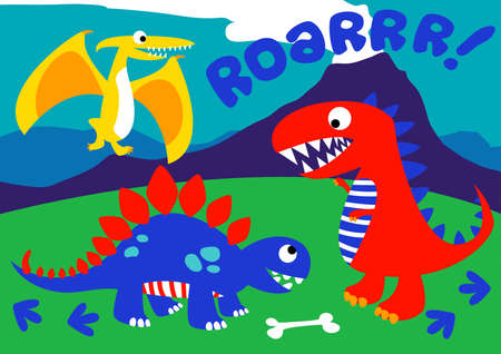 3 Cute dinosaurs standing on a hill .