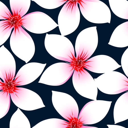 pink wall paper: White tropical hibiscus flowers in a seamless pattern .
