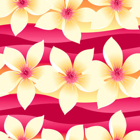 Yellow and pink tropical floral seamless pattern on wave background .
