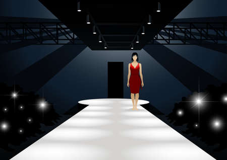 entertainment: Fashion model in red dress walking down a catwalk. Illustration