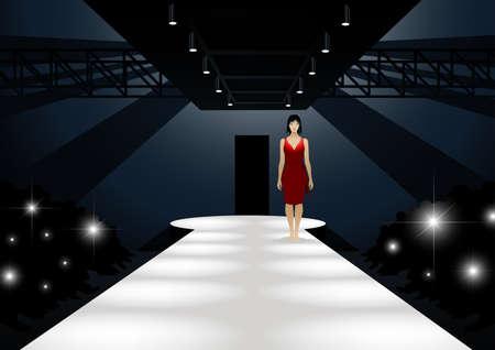 red dress: Fashion model in red dress walking down a catwalk. Illustration