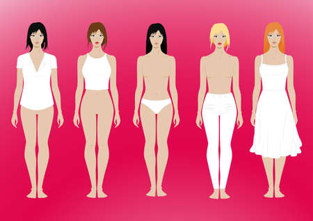 5 females standing template with removable clothing . Illustration