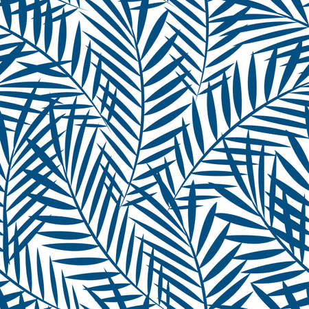 Tropical blue palm tree leaves in a seamless pattern .