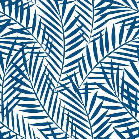 Tropische blauwe palmbladeren in een naadloze patroon.