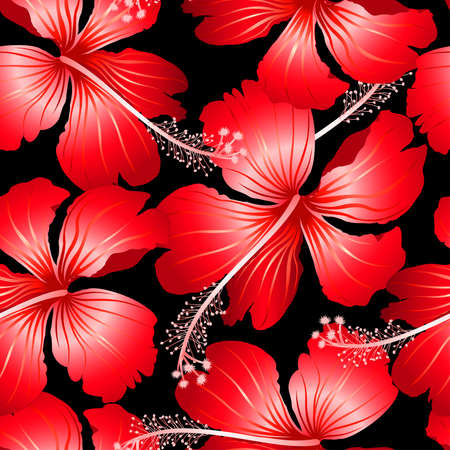 pink wall paper: Red tropical hibiscus flowers with black background seamless pattern .