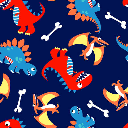 3 Cute dinosaurs in a seamless pattern .