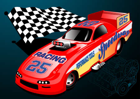 Red Dragster racing car with chequered flag and engine illustration .