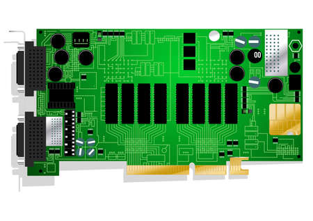 soldering: Green graphics card circuit board illustration on white background.