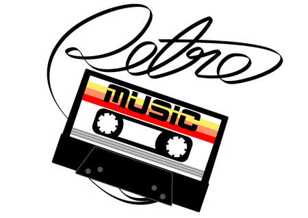 unwind: Cassette tape retro music on a white background . Illustration