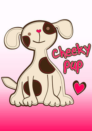 cheeky: Cheeky pup embroidery with heart .