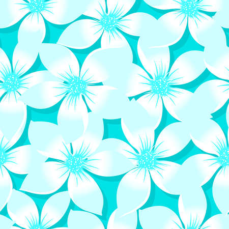 ターコイズ熱帯プルメリアとハイビスカス花柄シームレス パターン。  イラスト・ベクター素材