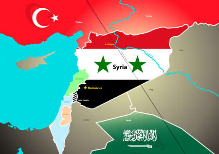 proposed: Syria geopolitical map with proposed oil pipeline.