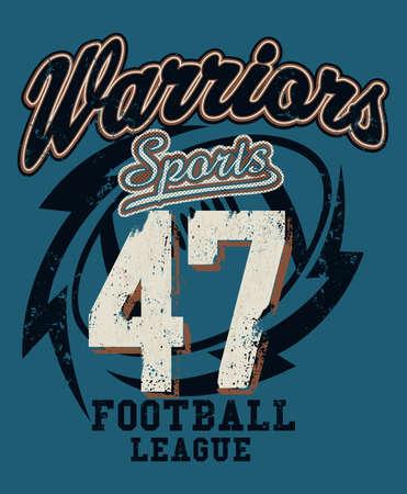 the varsity: Sports Warriors Football league distressed print . Illustration