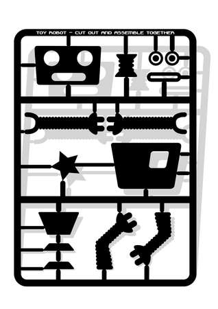 assemble: Robot parts cut out and assemble template for children .