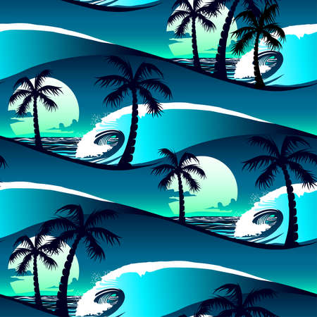 Tropical hibiscus and palm trees at sunset seamless pattern .