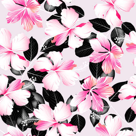 woman white shirt: Tropical hibiscus flowers with black leaves seamless pattern . Illustration