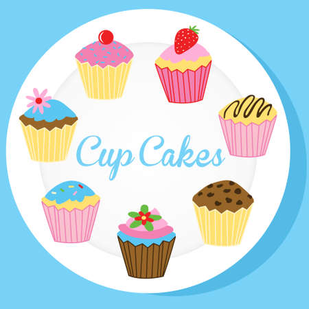 Cup cakes on a white plate.