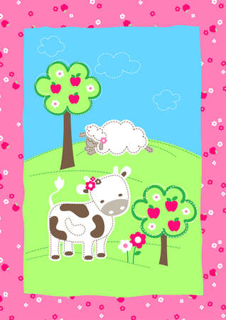 pink hills: Cute farm animals on a hill embroidery .
