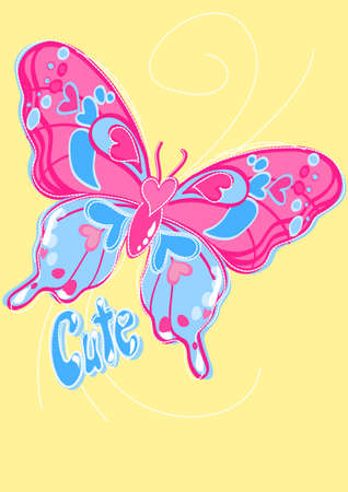 Cute butterfly on a yellow background