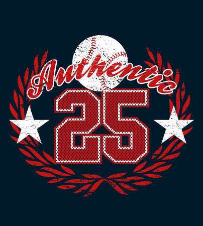 authentic: Baseball authentic jersey distressed print . Illustration