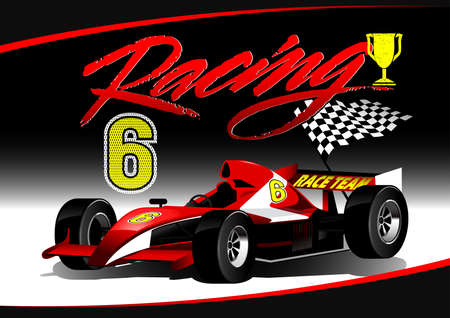 4 wheel: Red open wheel racing car with trophy .