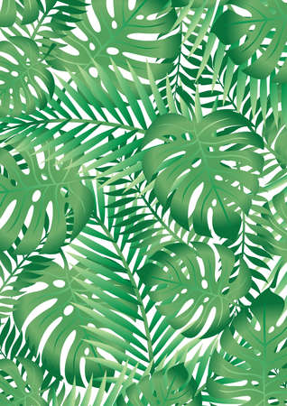 Green tropical palm tree leaves background . Stock Illustratie