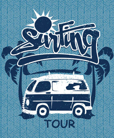 woody: Surfing tour van print on a bamboo background .