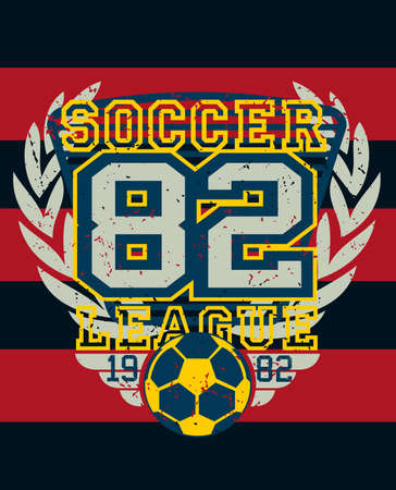 sports league: Sports soccer league distressed jersey print .