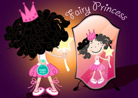 reflection: Fairy princess holding a bag of magic dust . Illustration